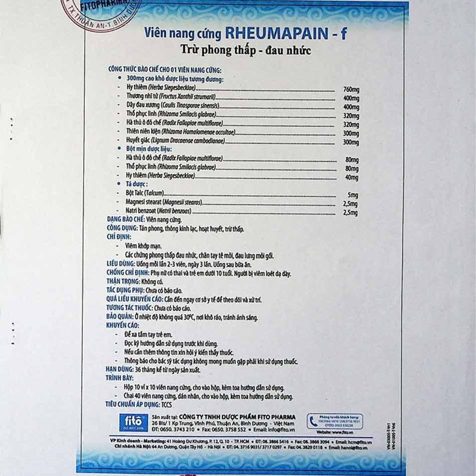 Hướng dẫn sử dụng thuốc Rheumapain F