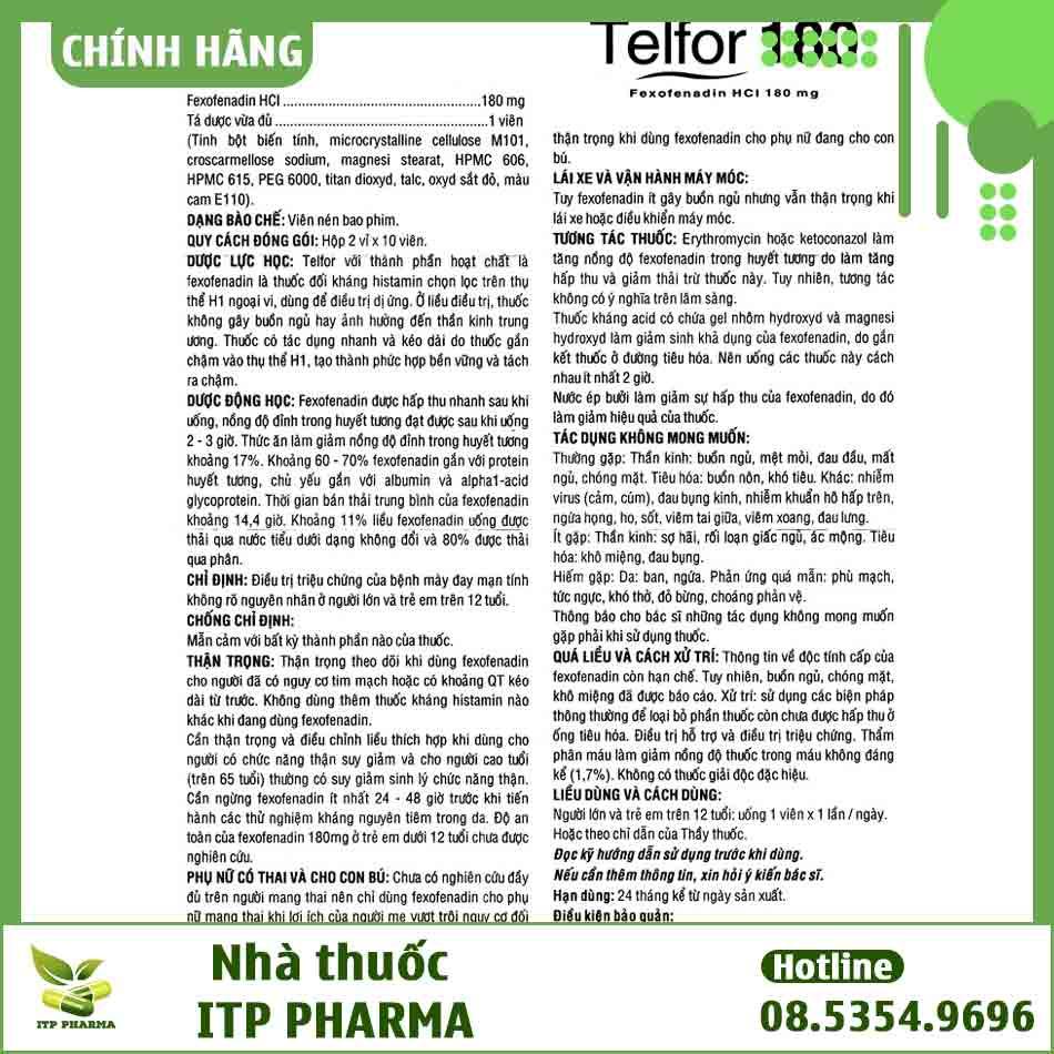Thông tin, hướng dẫn sử dụng thuốc Telfor 180