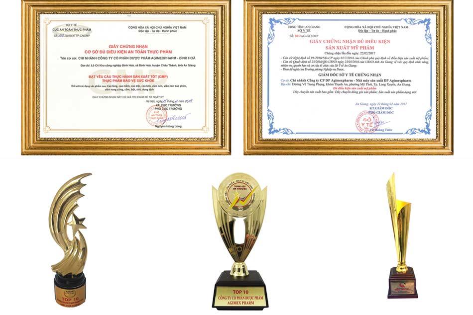 Một số giải thưởng Agimexpharm đạt được