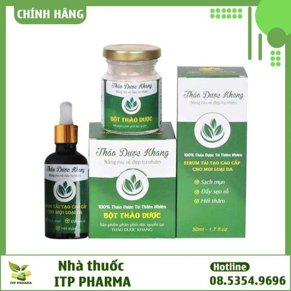 Bộ sản phẩm trị mụn Thảo Dược Khang gồm Bột thảo dược và Serum trị mụn
