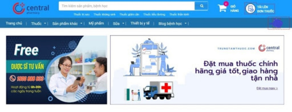 Giao diện website Trung Tâm Thuốc Central Pharmacy
