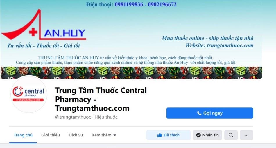 Trang Facebook của Trung Tâm Thuốc Central Pharmacy