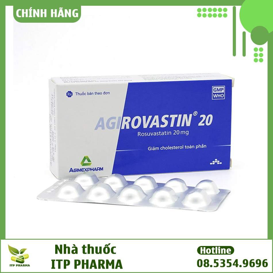 Hộp và vỉ thuốc Agirovastin 20mg