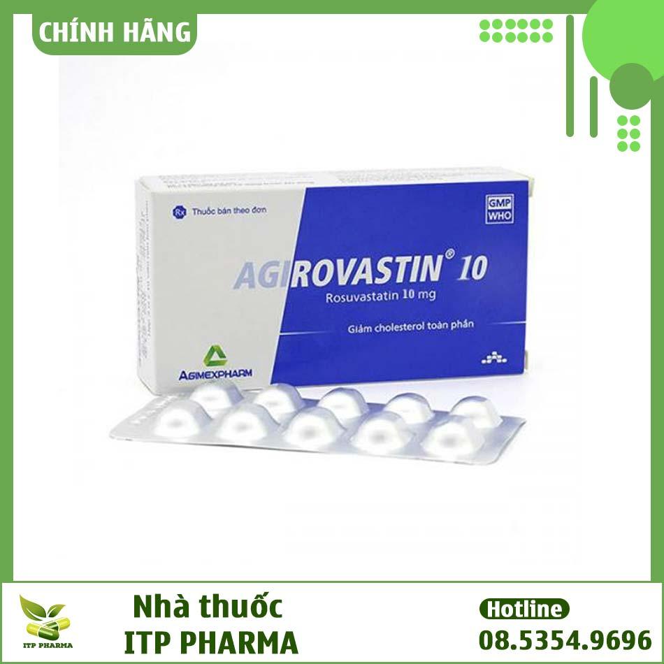 Hộp và vỉ thuốc Agirovastin 10mg