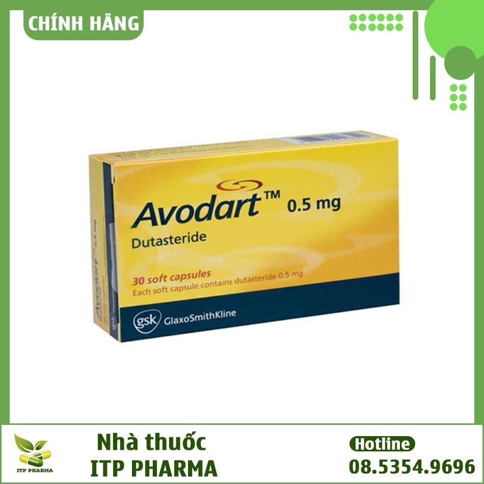 Mặt trước của hộp thuốc Avodart