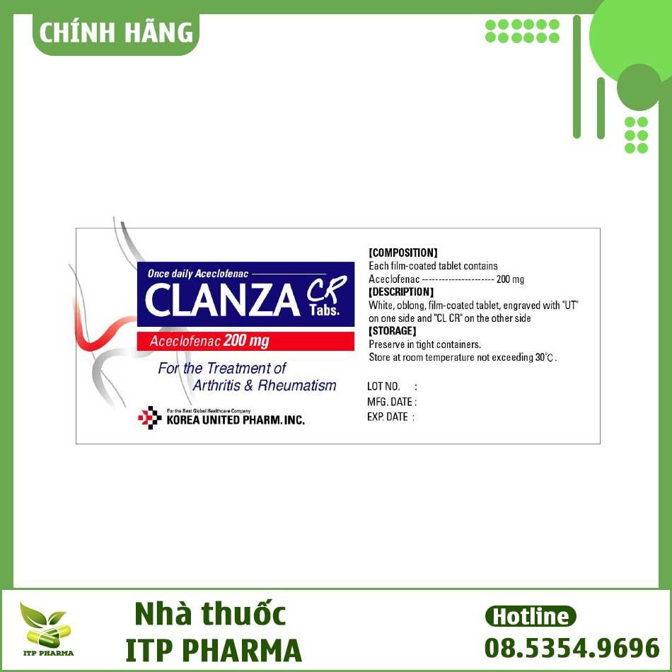 Thành phần thuốc ClanzaCR