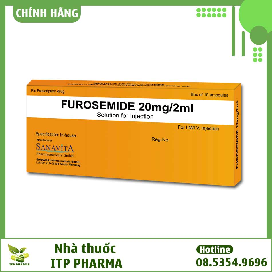 Hình ảnh hộp thuốc tiêm Furosemid 20mg/2ml