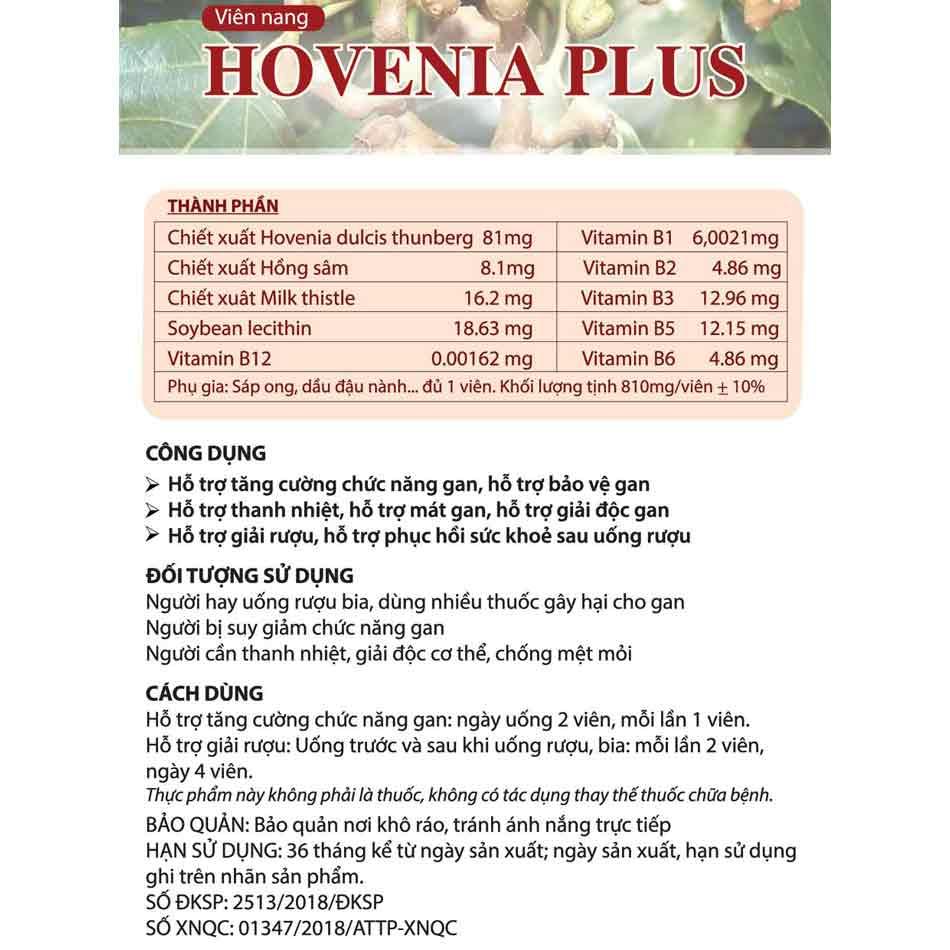Tờ thông tin sản phẩm của Hovenia Plus