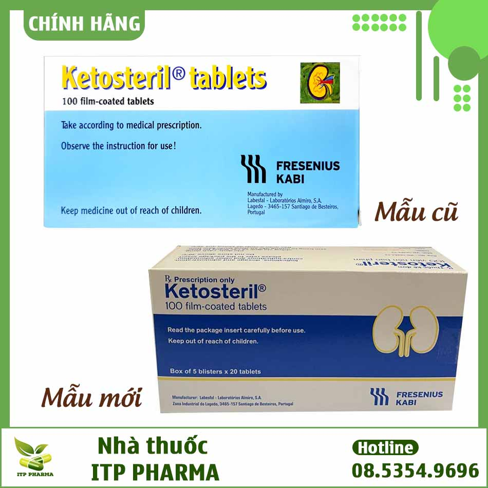 Thuốc Ketosteril mẫu cũ và mẫu mới