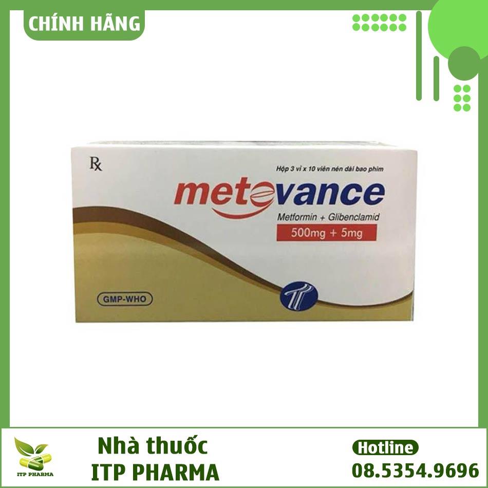 Mặt trước của hộp thuốc Metovance