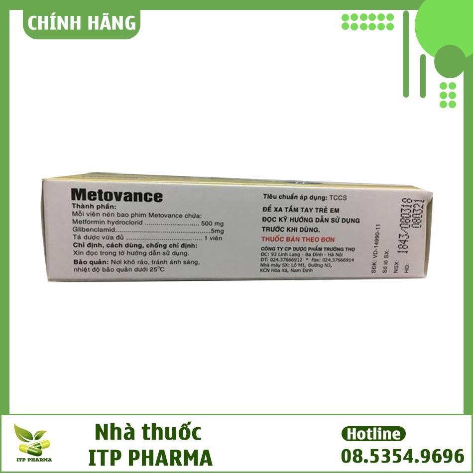 Mặt bên của hộp thuốc Metovance
