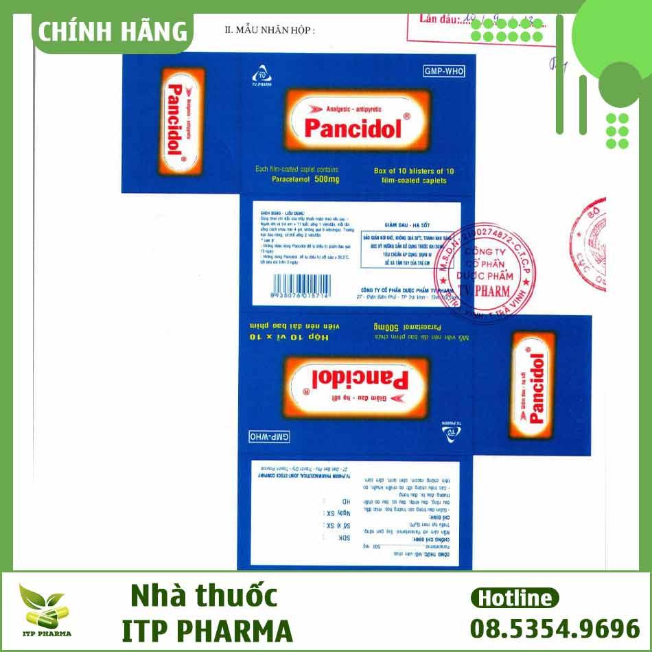 Nhãn thuốc Pancidol