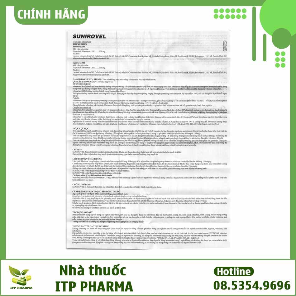 Hình ảnh tờ hướng dẫn sử dụng của thuốc Sunirovel 150