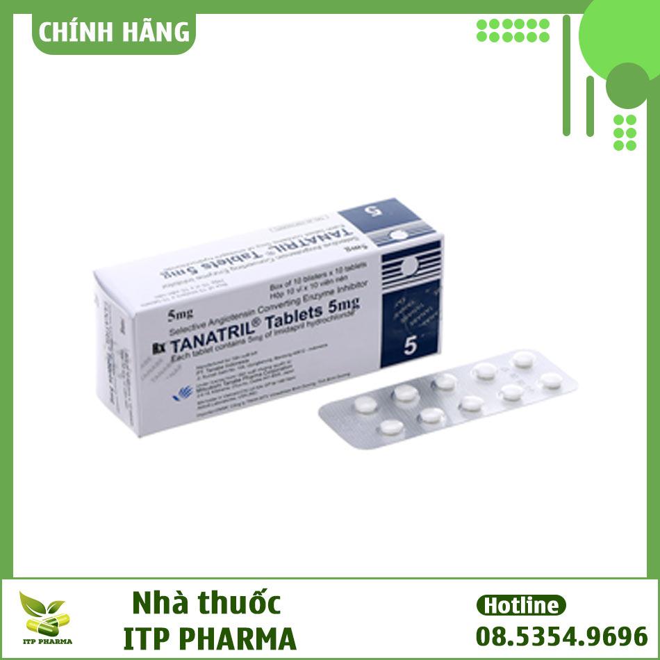 Hộp và vỉ thuốc Tanatril Tablets 5mg