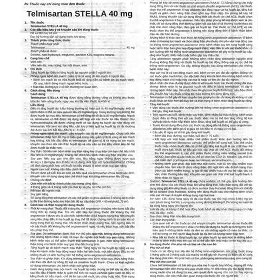 Hướng dẫn sử dụng thuốc Telmisartan
