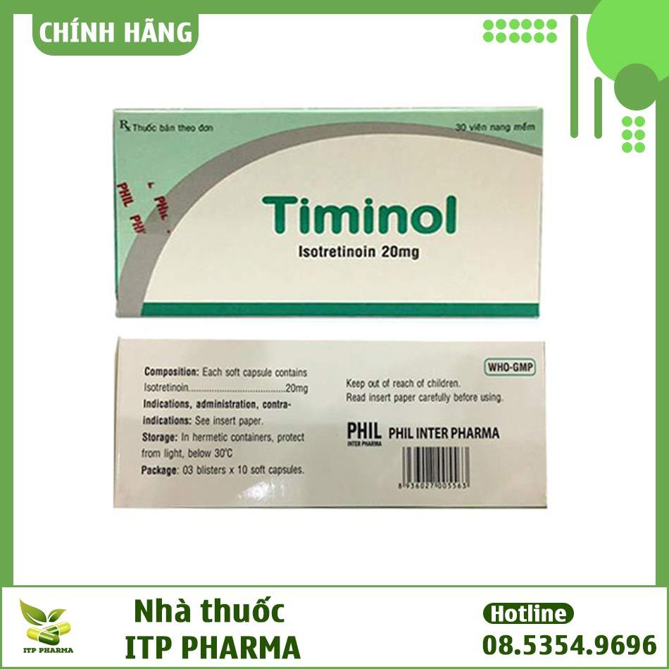 Mặt trước và mặt bên hộp thuốc Timinol 20mg
