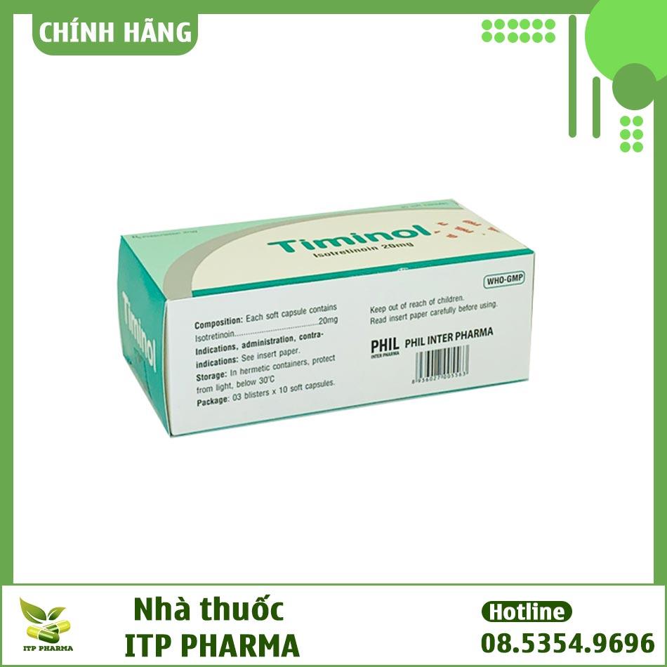 Hình ảnh mặt bên hộp thuốc Timinol