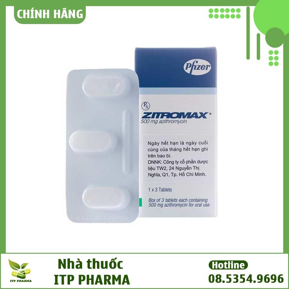 Hình ảnh vỉ và hộp thuốc Zitromax
