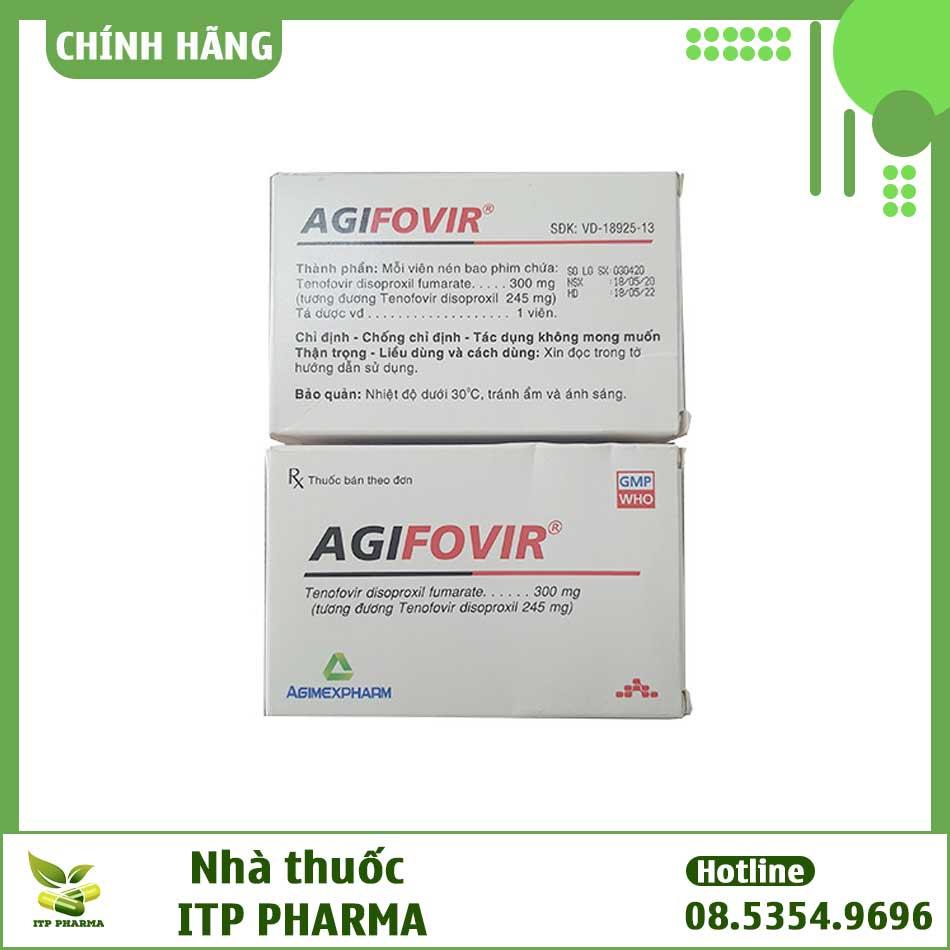 Hình ảnh mặt trước và mặt sau của hộp thuốc Agifovir 300mg