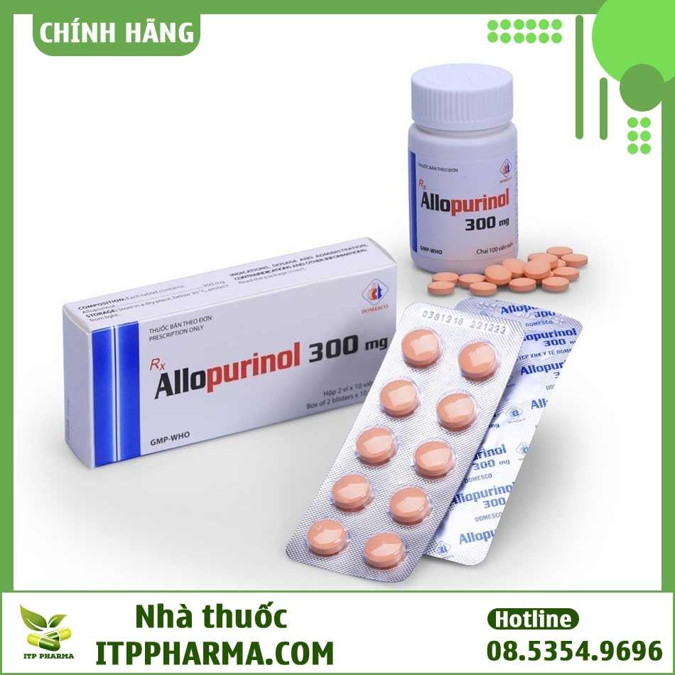 Thuốc Allopurinol 300mg Domesco được đóng gói thành vỉ hoặc thành lọ