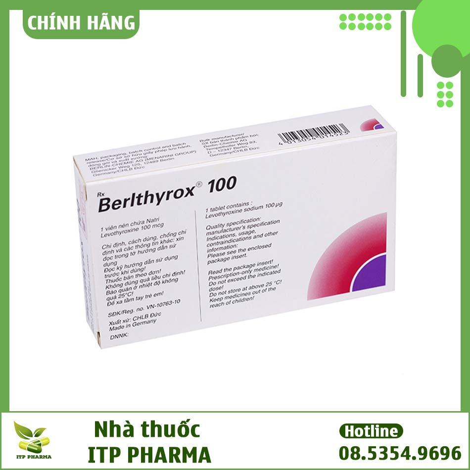 Hình ảnh mặt sau của hộp thuốc Berlthyrox 100