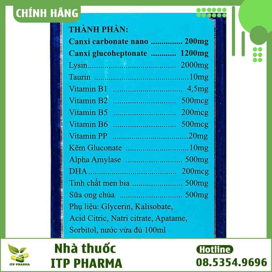 Thành phần của siro Canxi Nano Gold