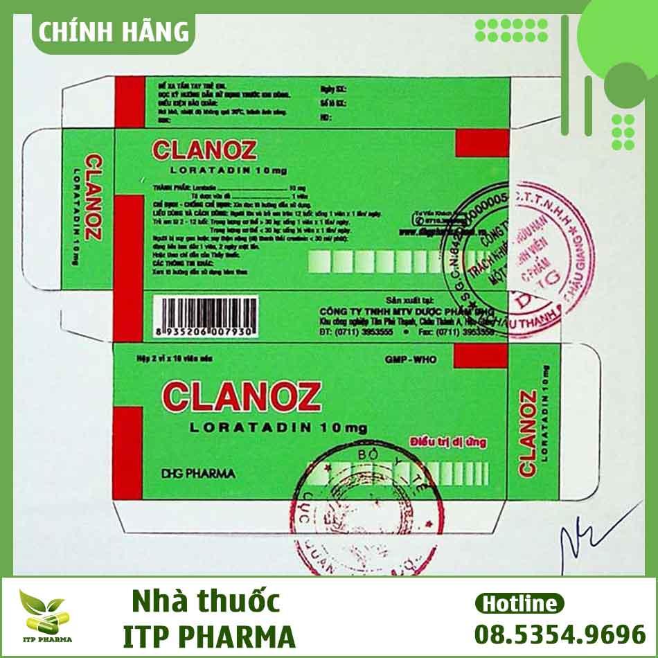 Hình ảnh bao bì thuốc Clanoz đăng ký lưu hành trên thị trường