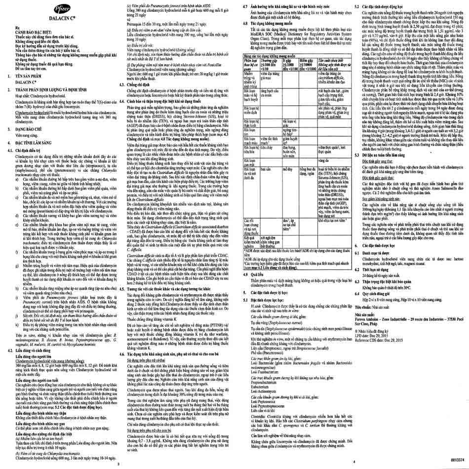 Hướng dẫn sử dụng Dalacin C 300mg