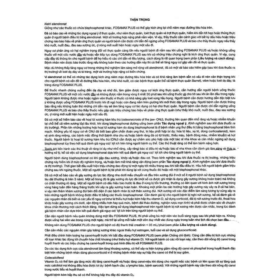 Hướng dẫn sử dụng thuốc Fosamax Plus (2)