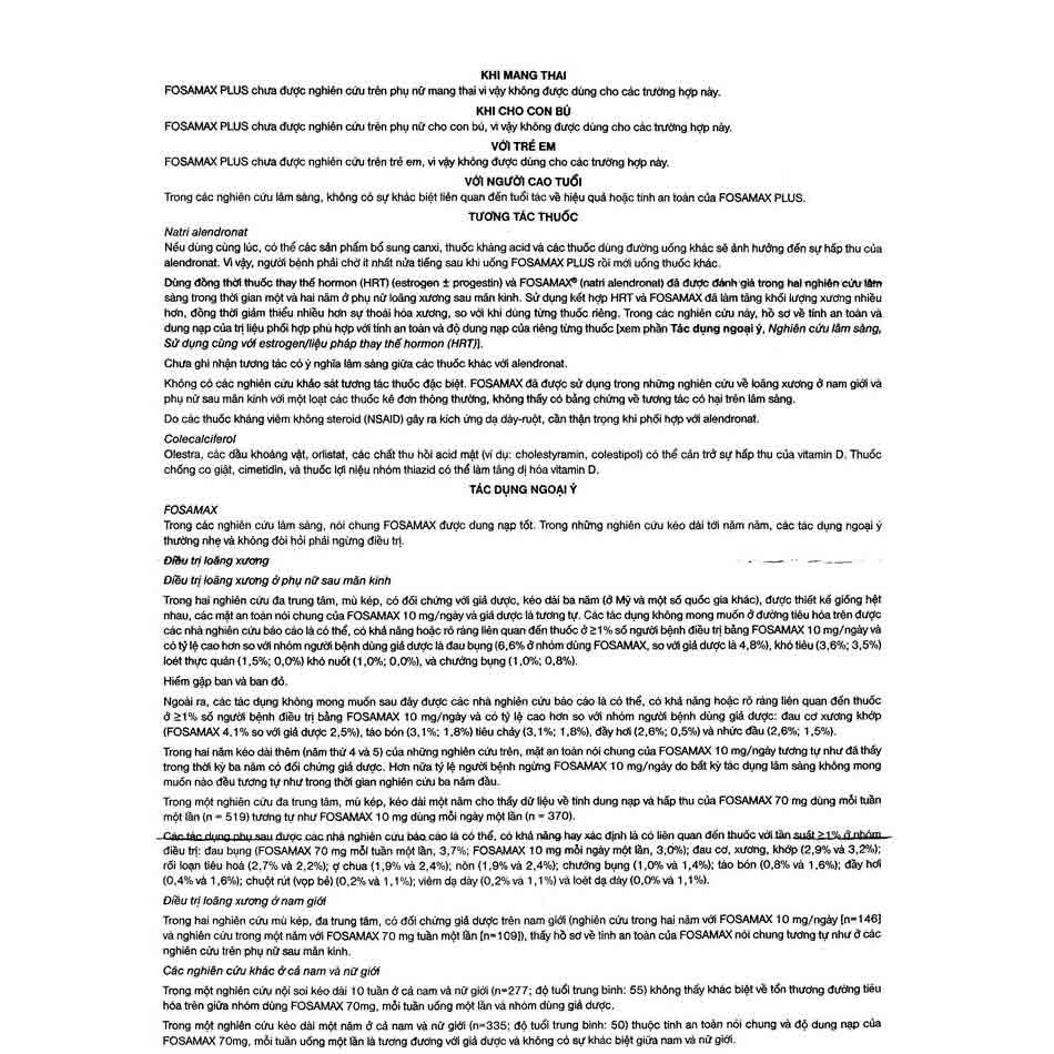 Hướng dẫn sử dụng thuốc Fosamax Plus (3)