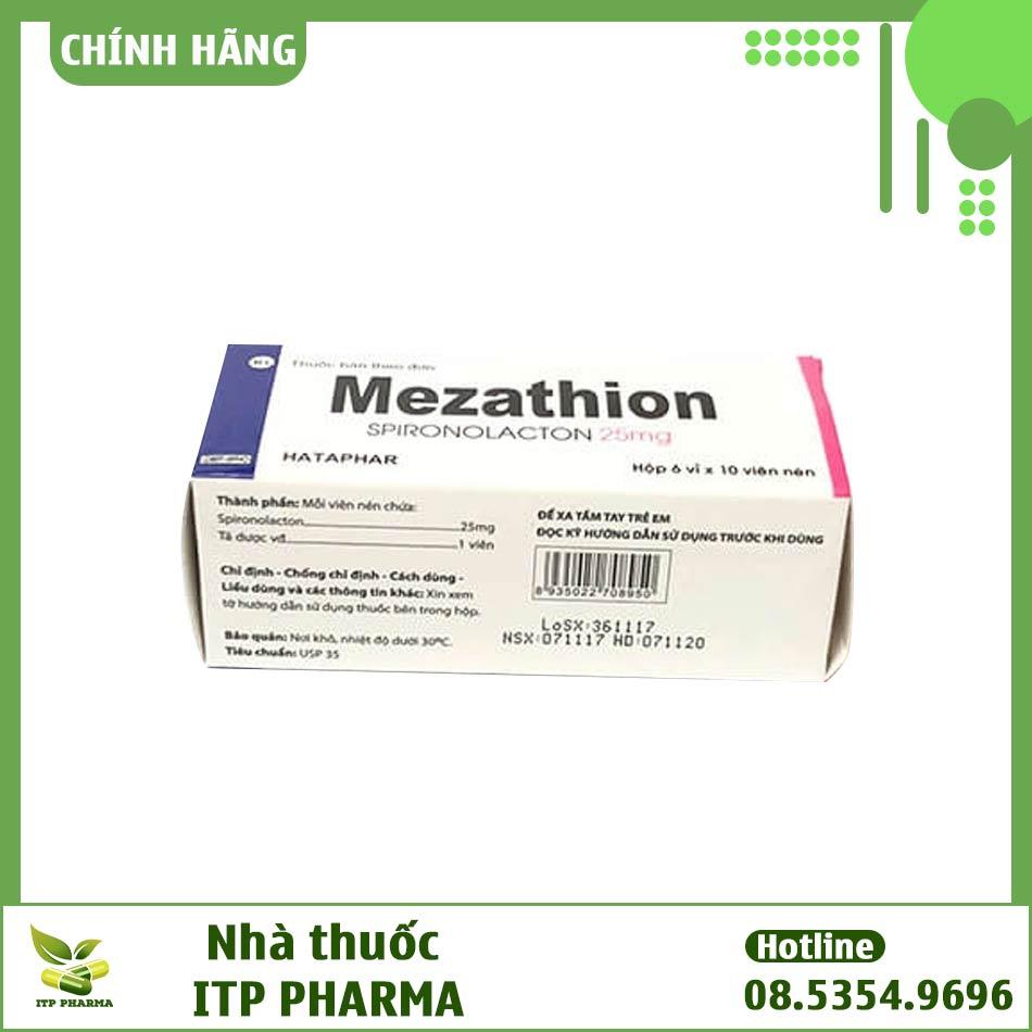 Hình ảnh mặt bên của hộp thuốc Mezathion