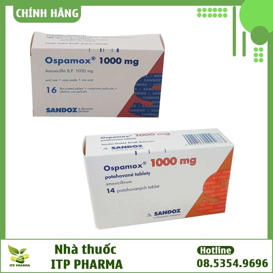 Hình ảnh hộp thuốc Ospamox dạng viên nén và sirup