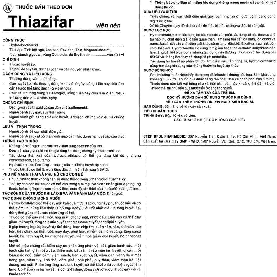 Hướng dẫn sử dụng thuốc Thiazifar