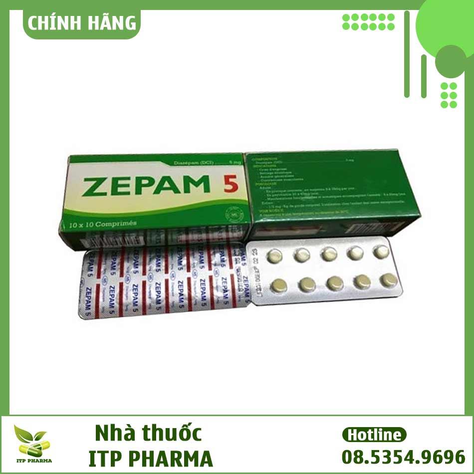Hình ảnh hộp và vỉ thuốc Zepam 5mg