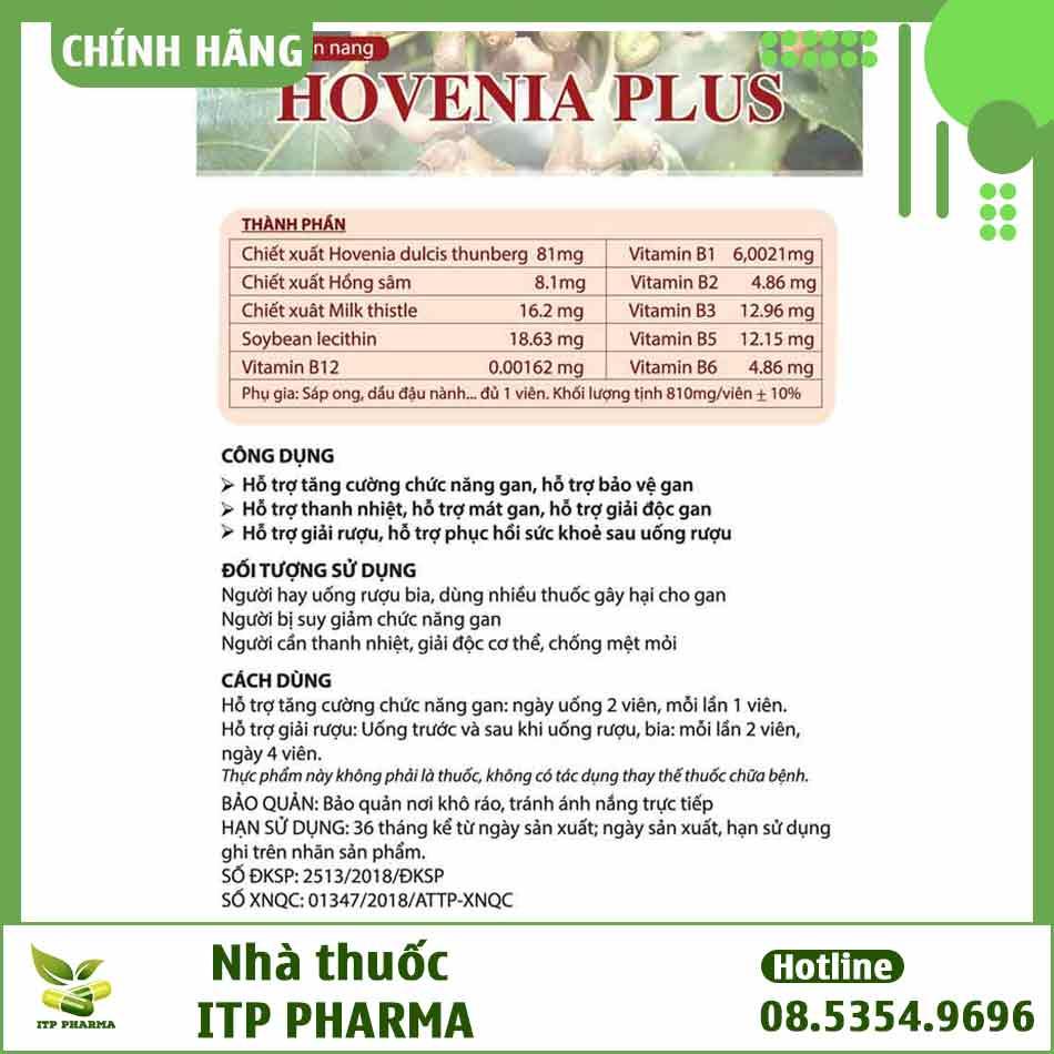 Thông tin về sản phẩm Hovenia Plus
