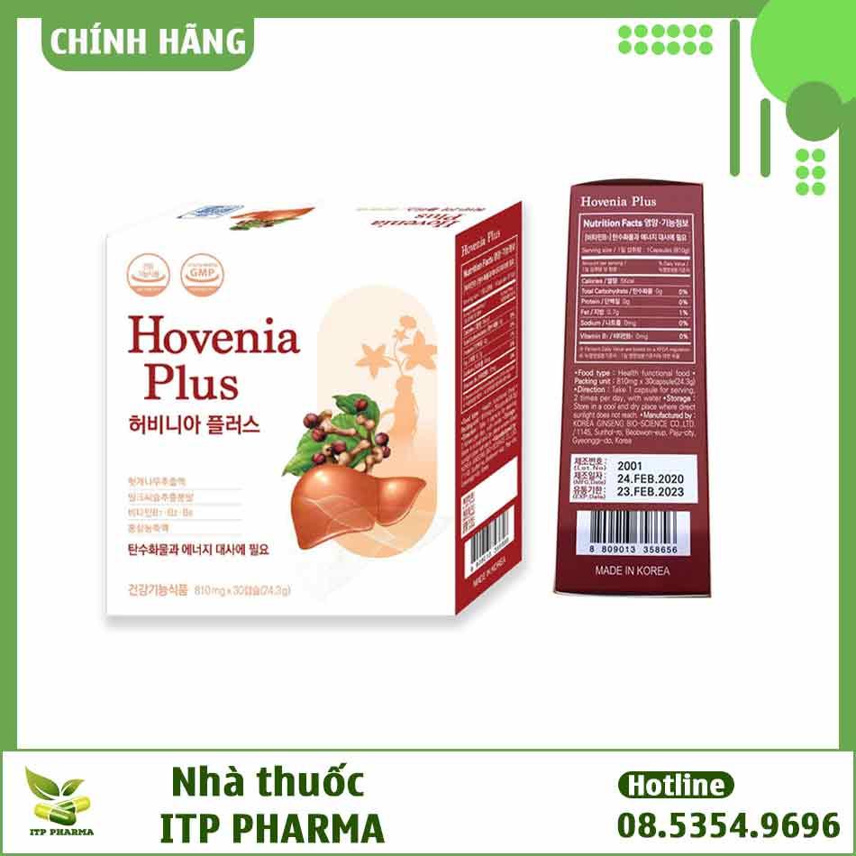 Hình ảnh mặt bên của hộp Hovenia Plus