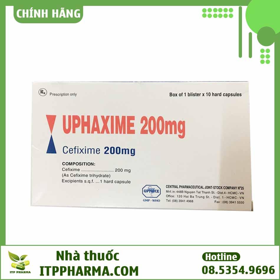 Mặt sau hộp thuốc Uphaxime 200mg