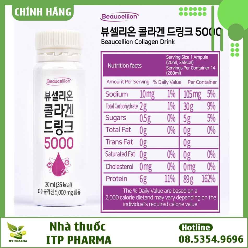 Thành phần dinh dưỡng có trong Collagen Drink 5000mg