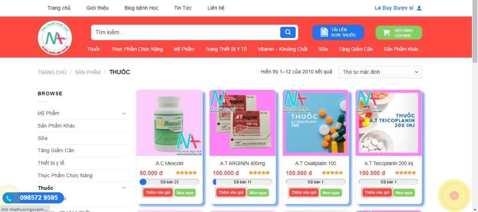 Tại nhathuocngocanh.com phân phối đa dạng các loại thuốc cũng như thực phẩm chức năng