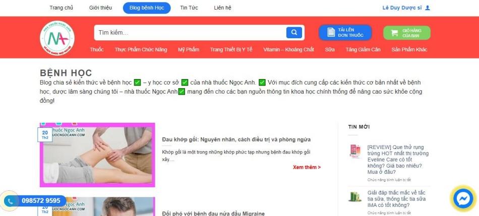 Website nhathuocngocanh.com luôn liên tục các thông tin liên quan đến sức khỏe