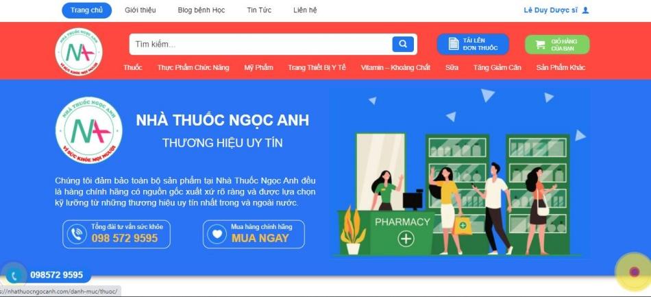 Trang chủ của website nhathuocngocanh.com