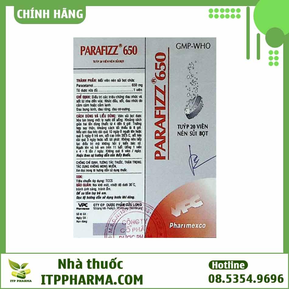 Hình ảnh vỏ hộp thuốc Parafizz